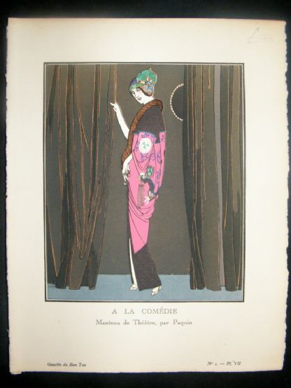 Gazette du Bon Ton by Gose 1912 Art Deco Pochoir. A La Comedie | Albion Prints